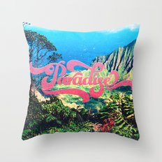Pink Teal Retro Paradise Vintage Style Photography Throw Pillow