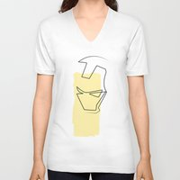 quibe V-neck T-shirts featuring Oneline Ironman by quibe