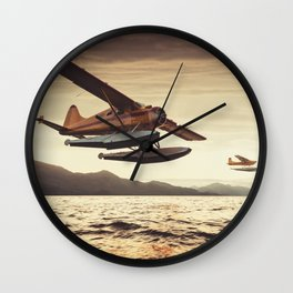 Flying in the Sunset Wall Clock