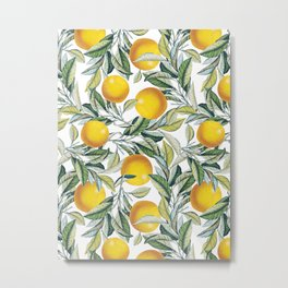 Lemon and Leaf Pattern VI Metal Print