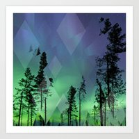 northern lights Art Prints featuring Northern Lights by Ricca Design Co.