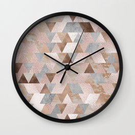 Copper and Blush Rose Gold Marble Triangles Wall Clock