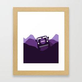 Jeep 'Driving' Purple Mountain Framed Art Print