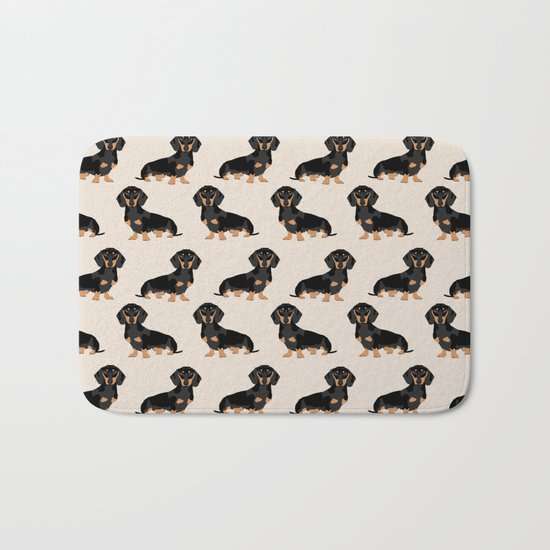 Dachshund doxie pet portrait hot dog weener dog breed funny small dogs puppy gifts for dachshund  Bath Mat