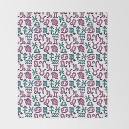 Zodiac signs seamless pattern. Horoscope symbols. Astrology Throw Blanket