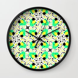 Bubbly pattern with leaves Wall Clock