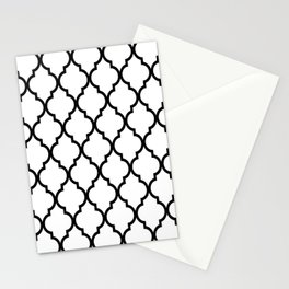 Classic Quatrefoil Lattice Pattern 321 Black and White Stationery Cards