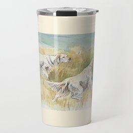 ENGLISH SETTERS in the field Hunting scene Travel Mug