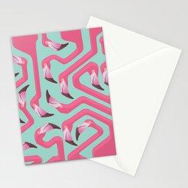 Flamingo Maze on beach glass background. Stationery Cards