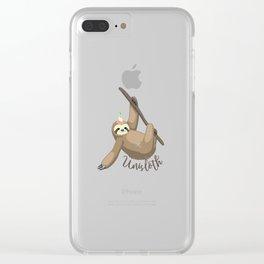 Unisloth - Distressed Sloth and Unicorn Mashup Clear iPhone Case
