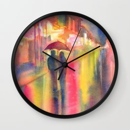 Rainy Night in New Orleans Wall Clock