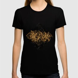 Shiny golden dots connected lines on black T-shirt