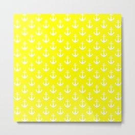 Anchors (White & Yellow Pattern) Metal Print