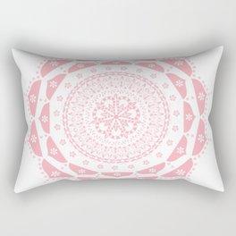 Dusky Pink Frosted Flower Mandala Rectangular Pillow