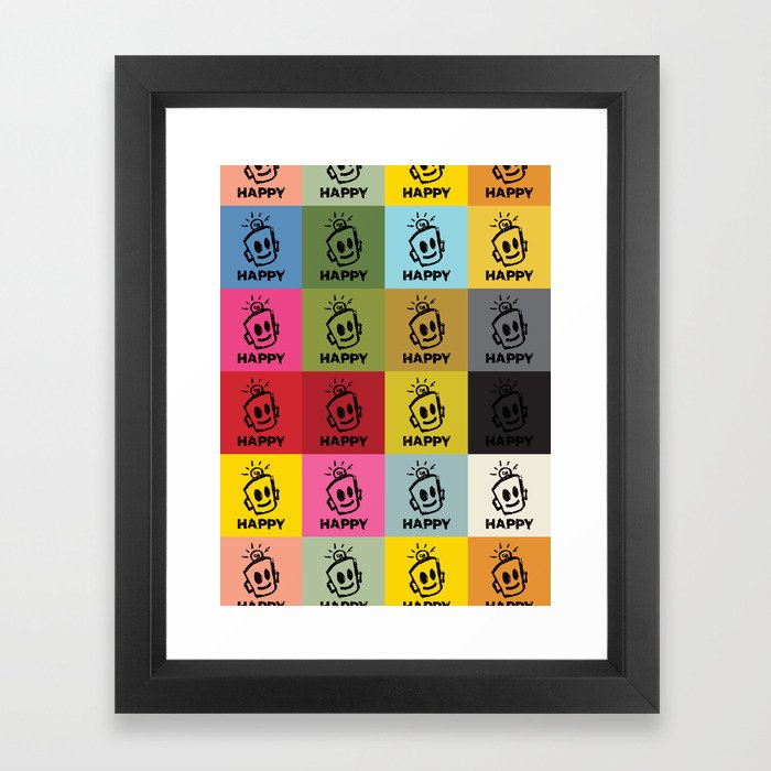 HAPPY SQUARES Framed Art Print