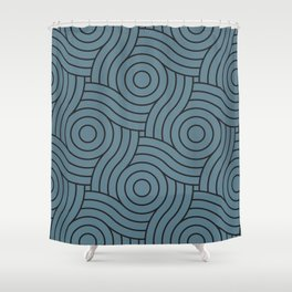 Circle Swirl Pattern Inspired by Behr Color of the Year 2019 Blueprint Blue S470-5 Shower Curtain