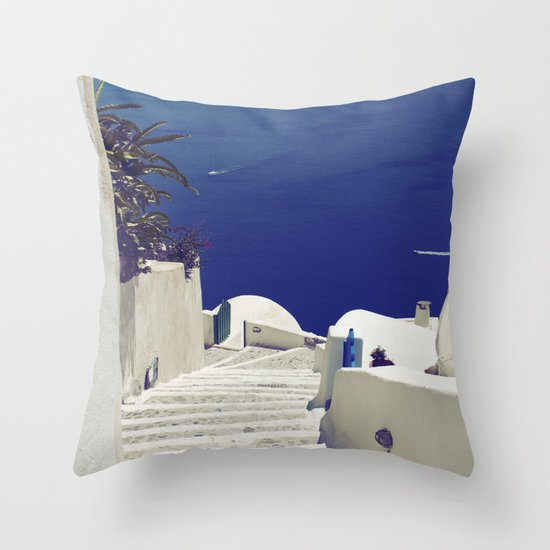 Santorini Stairs II Throw Pillow