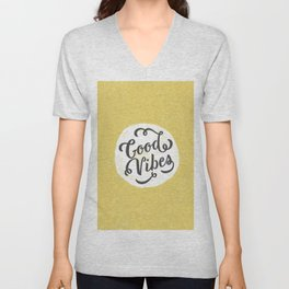 good vibes logo new art love cute 2018 2019 style yellow vibes beach new hot style fashion case cove Unisex V-Neck