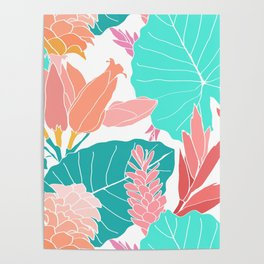 Coral Ginger Flowers + Elephant Ears in White Poster