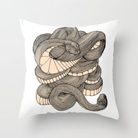 snake Throw Pillows featuring Snake  by AW Illustrations
