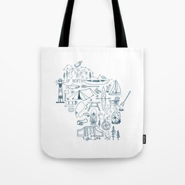 Wisconsin Up North Collage Tote Bag