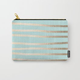 Simply Drawn Stripes White Gold Sands on Succulent Blue Carry-All Pouch