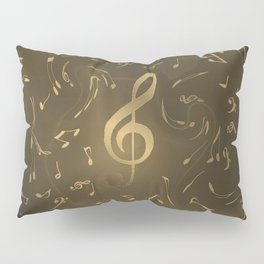 gold music notes swirl pattern Pillow Sham