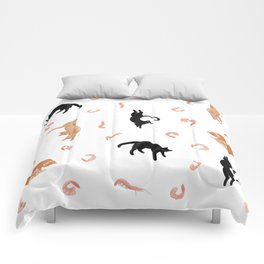 Cats and Shrimp floating in white space Comforters