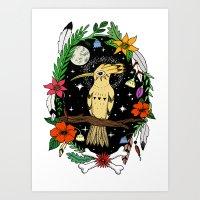 Night bird in color Art Print