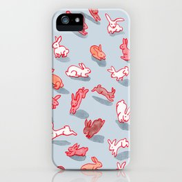 Bountiful Bunnies on Grey iPhone Case