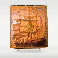 pirate ship Shower Curtains featuring pirate ship by Vector Art