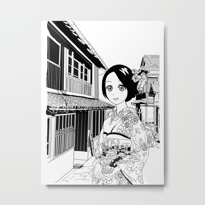 Kimono girl (manga style drawing) Metal Print