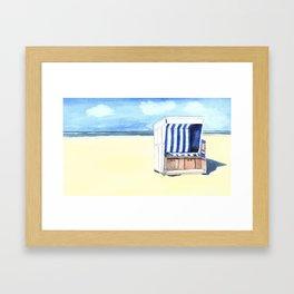 Sylt Watercolor Beach Painting Framed Art Print