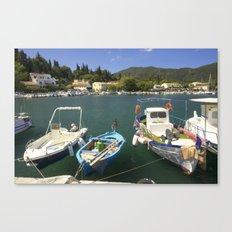 Fishing boats at Ipsos Canvas Print