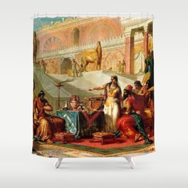"Classical Masterpiece ""Esther Accusing Haman"" by Frederick Bensell Shower Curtain"