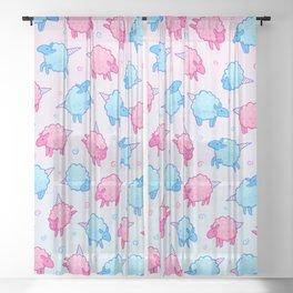 Cotton Candy Sheep Sheer Curtain