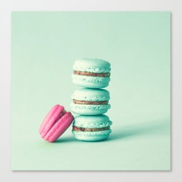 tower of mint macarons, macaroons, over green mint Canvas Print