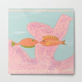 Coral Kissing Fish Metal Print