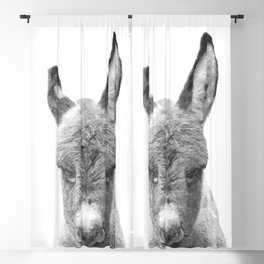 Black and White Baby Donkey Blackout Curtain