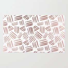 Elegant faux rose gold modern geometric stripes Rug