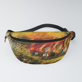 Autumn Foliage House with Red Parthenocissus On House Landscape by Jéanpaul Ferro Fanny Pack