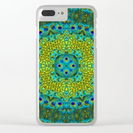 Peacock Feathers - Blue Clear iPhone Case