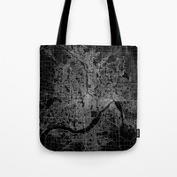 minneapolis Tote Bags featuring minneapolis map by Line Line Lines