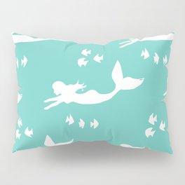 Mermaid Pattern Sea Green Pillow Sham