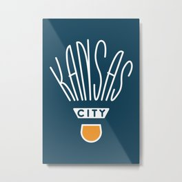 Kansas City Shuttlecock Type - White Metal Print