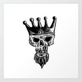 King Beard Skull Scratchboard Art Print