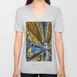 Vincent Van Gogh Railway Station Unisex V-Neck