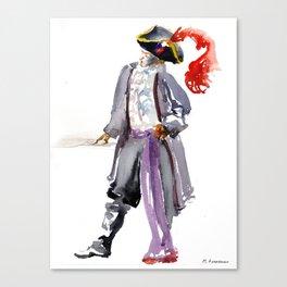 Pirate Watercolor Canvas Print