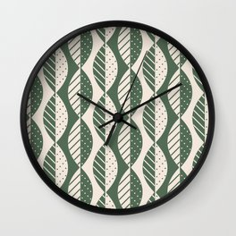 Mod Leaves in Olive and Cream Wall Clock