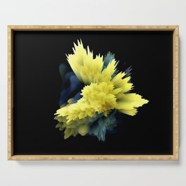 yellow indigo blue flower abstract 3d painting Serving Tray